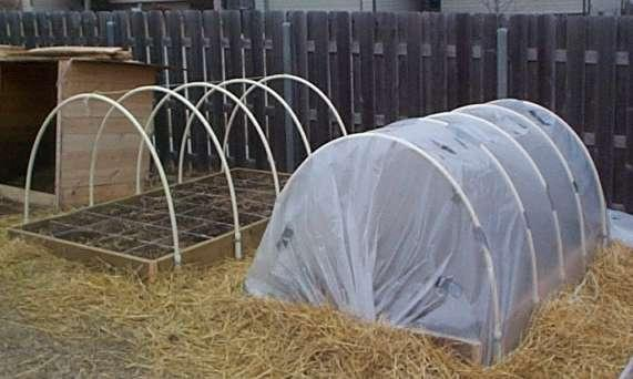 Hoop Covers Made From PVC Pipe For Raised Beds.